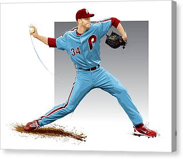 Roy Halladay Canvas Print by Scott Weigner