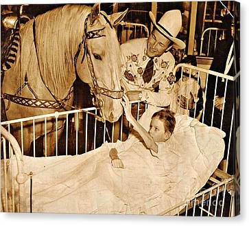 Roy Rogers And Trigger With A Polio Victim In Pittsburgh Canvas Print by Unknown