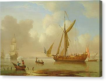 Royal Yacht Becalmed At Anchor Canvas Print by  Peter Monamy