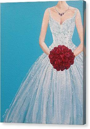 Fashion Painting Wedding Dress - Bride - Ruby Red Canvas Print by Cheri Miller