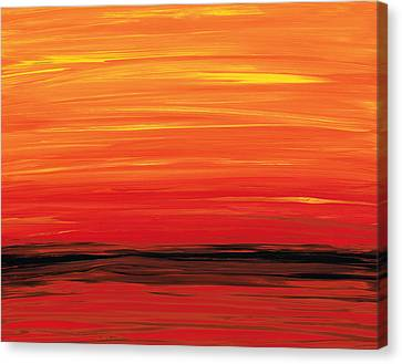 Ruby Shore - Red And Orange Abstract Canvas Print by Sharon Cummings