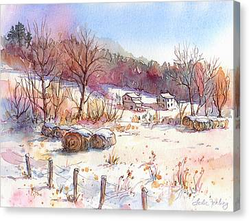 Ruff Creek Winter Canvas Print by Leslie Fehling