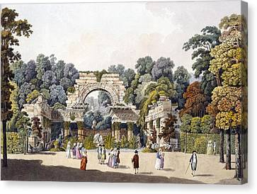 Ruin In The Garden Of The Palace Canvas Print by Laurenz Janscha