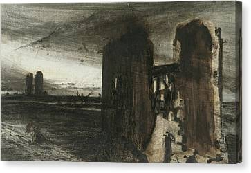 Ruins In A Landscape Canvas Print by Victor Hugo