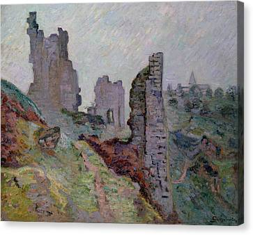 Ruins In The Fog At Crozant Canvas Print by Jean Baptiste Armand Guillaumin