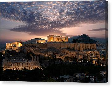Ruins Of A Temple, Athens, Attica Canvas Print by Panoramic Images