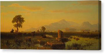 Ruins Of Paestum Canvas Print by Albert Bierstadt