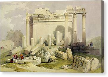 Ruins Of The Eastern Portico Canvas Print by David Roberts