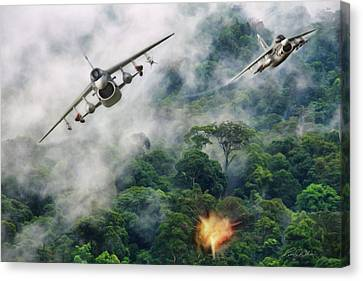 Rumble In The Jungle Canvas Print by Peter Chilelli