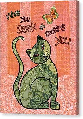 Rumi Cat Seeking Canvas Print by Cat Whipple