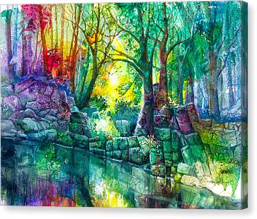 Runes By The Stream Canvas Print by Patricia Allingham Carlson
