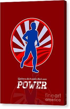 Runner Running Power Retro Poster Canvas Print by Aloysius Patrimonio