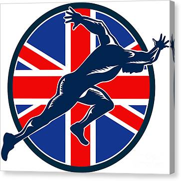 Runner Sprinter Start British Flag Circle Canvas Print by Aloysius Patrimonio