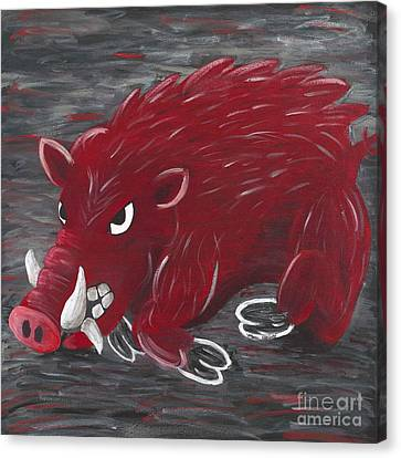 Running Razorback Canvas Print by Mona Elliott
