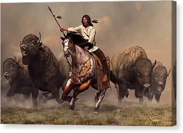 Running With Buffalo Canvas Print by Daniel Eskridge