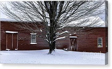 Rural Farmhouse Simplicity - A Winter Scenic Canvas Print by Thomas Schoeller