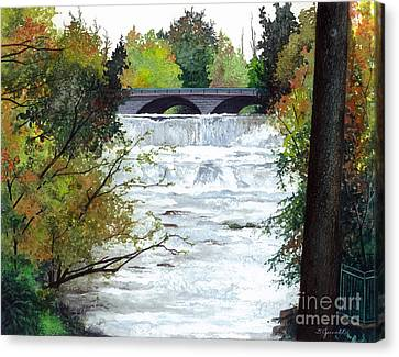 Rushing Water - Quiet Thoughts Canvas Print by Barbara Jewell