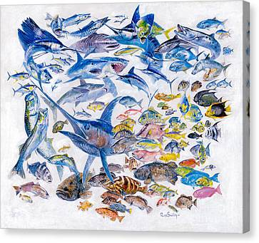 Russ Smiley Gamefish Collage Canvas Print by Carey Chen