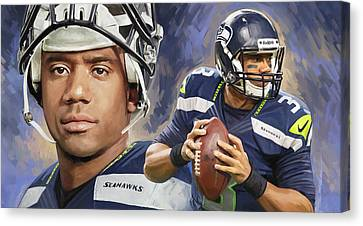 Russell Wilson Artwork Canvas Print by Sheraz A