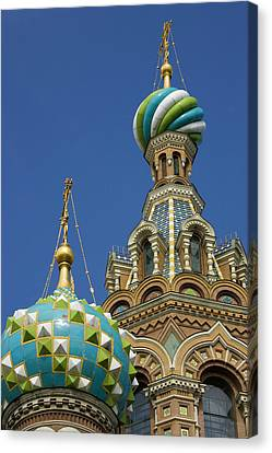 Russia, St Petersburg Two Towers Canvas Print by Jaynes Gallery