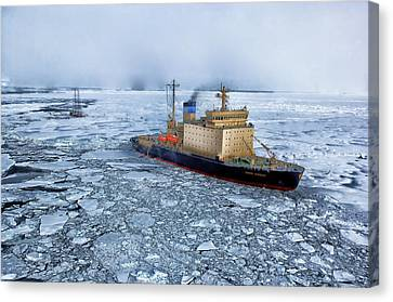 Russian Ship Iced In - Antarctica Canvas Print by Mountain Dreams
