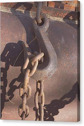 Rusted Hook And Chain Canvas Print by Ann Powell