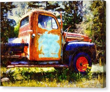 Rusted Old Dodge Pickup Truck Canvas Print by Janine Riley