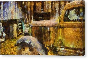 Rusted Truck In Autumn Canvas Print by Dan Sproul