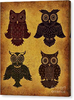 Rustic Aged 4 Owls Canvas Print by Kyle Wood