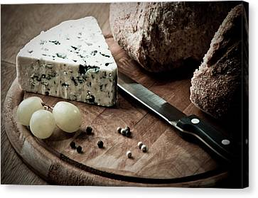 Rustic Bread And Cheese Canvas Print by Amanda And Christopher Elwell