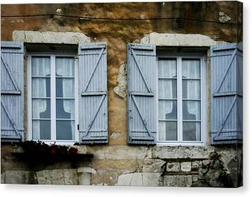 Rustic Wooden Window Shutters Canvas Print by Georgia Fowler