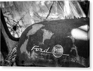 Rusty Ford F100 In Black And White Canvas Print by Greg Mimbs