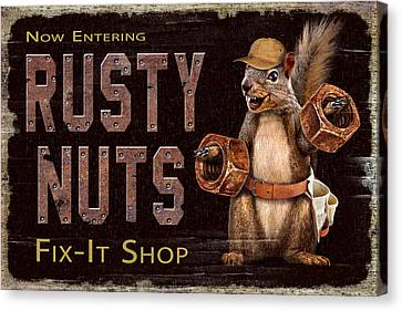 Rusty Nuts Canvas Print by JQ Licensing