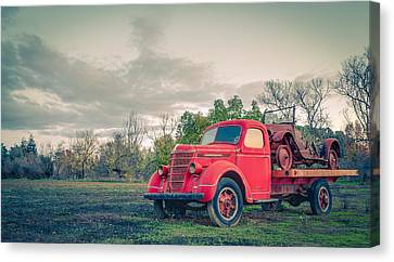 Rusty Old Red Pickup Truck Canvas Print by Sarit Sotangkur