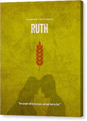 Ruth Books Of The Bible Series Old Testament Minimal Poster Art Number 8 Canvas Print by Design Turnpike
