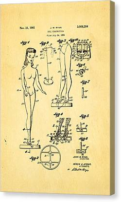 Ryan Barbie Doll Patent Art 1961 Canvas Print by Ian Monk