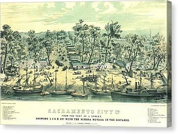 Sacramento California 1849 Canvas Print by Padre Art