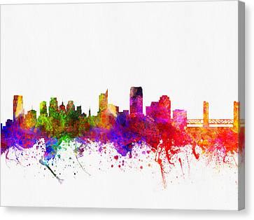 Sacramento California Skyline 02 Canvas Print by Aged Pixel