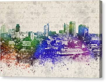 Sacramento City Skyline Canvas Print by Aged Pixel
