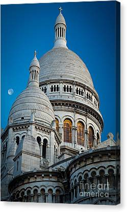 Sacre-coeur And Moon Canvas Print by Inge Johnsson