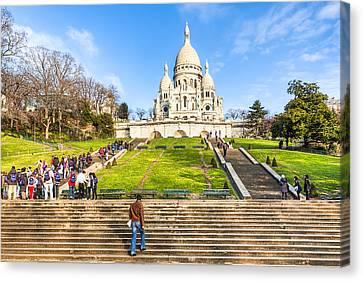 Sacre Coeur - Basilica Overlooking Paris Canvas Print by Mark E Tisdale