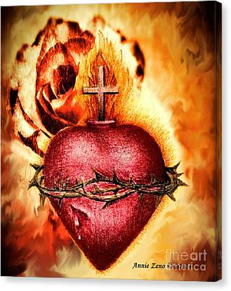 Sacred Heart Of Jesus Christ With Rose Canvas Print by Annie Zeno