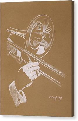 Sacred Trombone Canvas Print by Karen  Loughridge KLArt