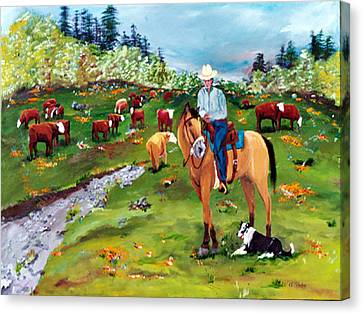 Saddle Pals Canvas Print by Gail Daley