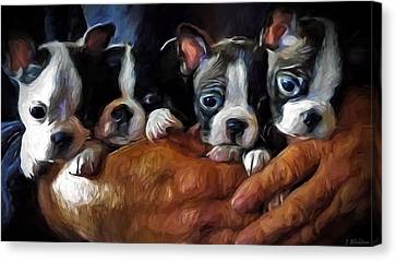 Safe In The Arms Of Love - Puppy Art Canvas Print by Jordan Blackstone