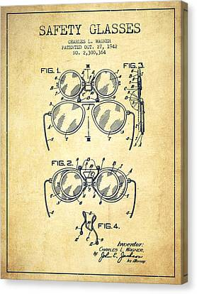 Safety Glasses Patent From 1942 - Vintage Canvas Print by Aged Pixel