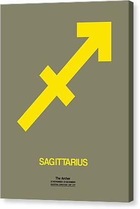 Sagittarius Zodiac Sign Yellow Canvas Print by Naxart Studio
