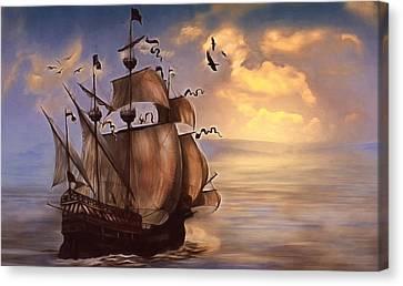 Sail Into My Dreams Vintage Canvas Print by Georgiana Romanovna
