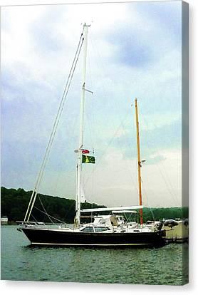 Sailboat At Anchor Canvas Print by Susan Savad