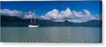Sailboat In A Bay, Kaneohe Bay, Oahu Canvas Print by Panoramic Images